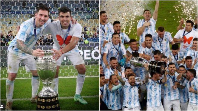 Marcos Acuña y un emotivo gesto en los festejos de Argentina campeón