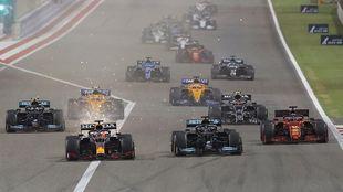 La salida del Gran Premio de Bahréin 2021.