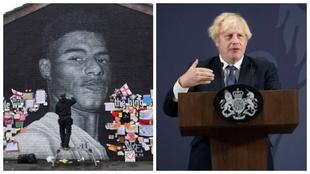 Mural en homenaje a Rashford y Boris Johnson.
