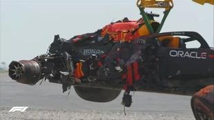 El accidente de Max Verstappen en el Gran Premio de Gran Bretaña,...