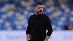 Gattuso (43) en un partido en su etapa como entrenador del Napoli.