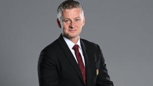 Ole Gunnar Solskjaer posa para la web del Manchester United.