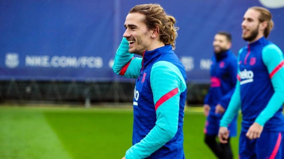 Antoine Griezmann (30) en un entrenamiento con el FC Barcelona.