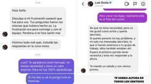 Captura de los mensajes entre el jugador y la periodista.