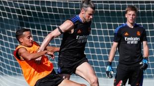 Gareth Bale (32) en un entrenamiento del Real Madrid.