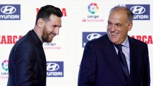 Tebas y Messi.