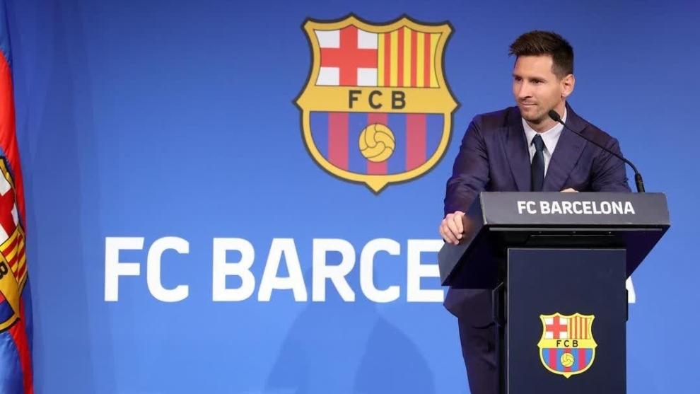 Lionel Messi (34) en la rueda de prensa de despedida del FC Barcelona.