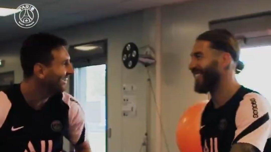 Lionel Messi y Sergio Ramos en el primero día de entrenamiento del...