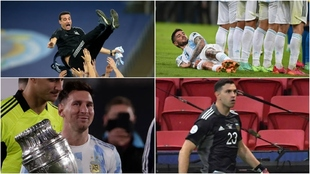 Liones Scaloni, Leo Messi, Rodrigo De Paul y Emi Martínez