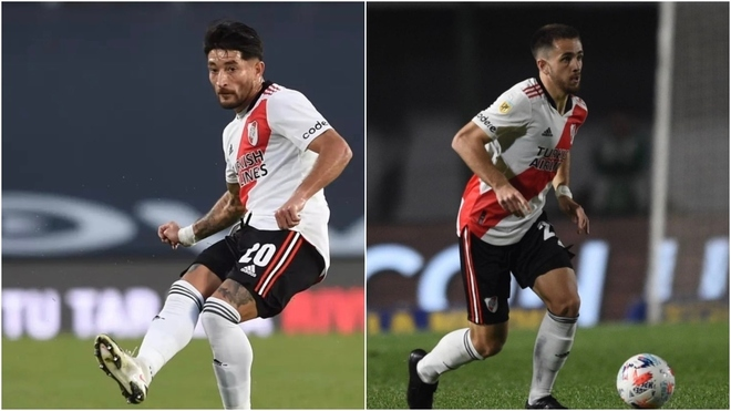 Casco y Peña, en acción con la camiseta de River.