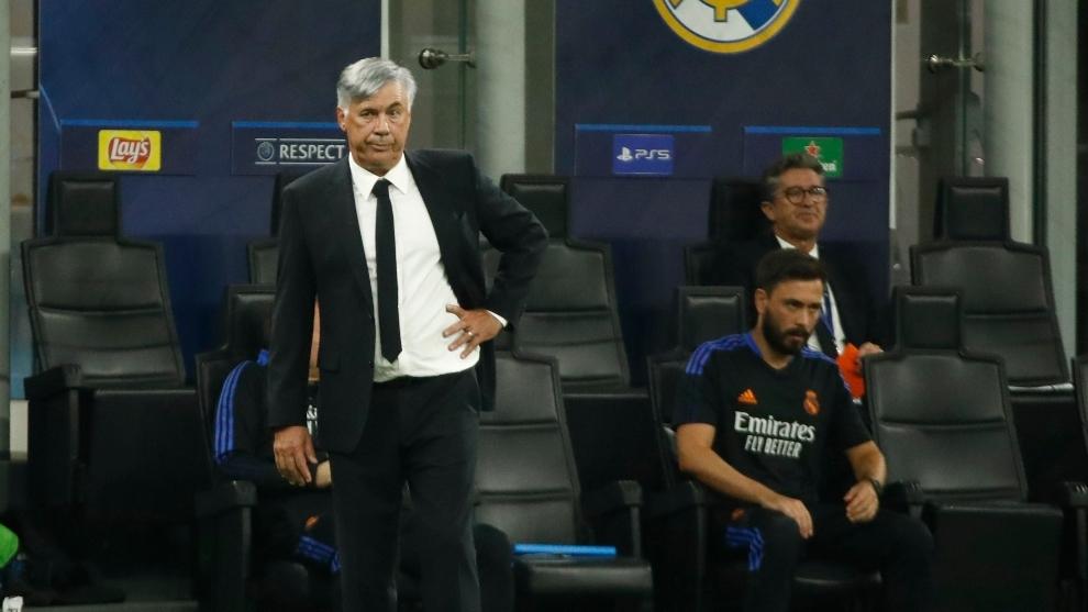 Carlo Ancelotti durante el partido del Real Madrid.