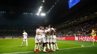 Los jugadores celebran el gol de Rodrygo ante Inter de Milán.