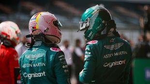Sebastian Vettel y Lance Stroll en Silverstone.