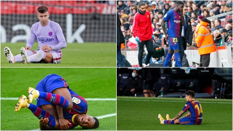 Gerard Piqué, Absu Fati, Samuel Umtití y Philippe Coutinho, lesionados del FC Barcelona