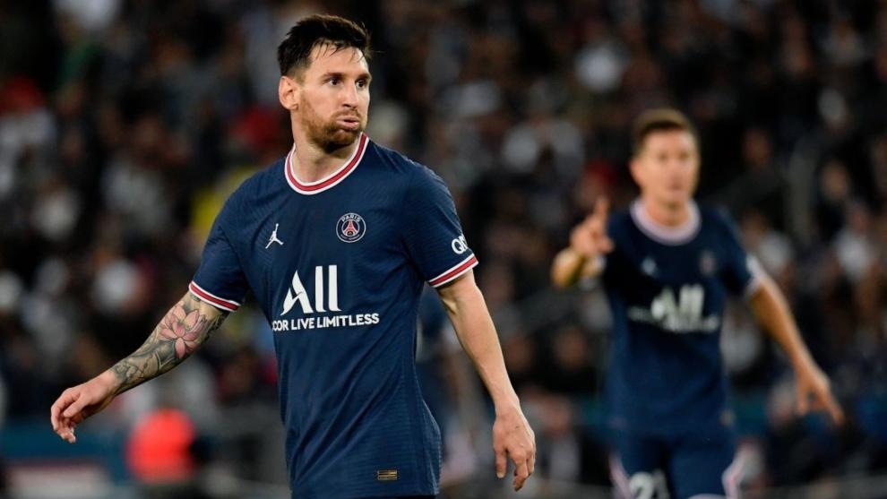 Messi, durante el partido del PSG ante el Lyon.