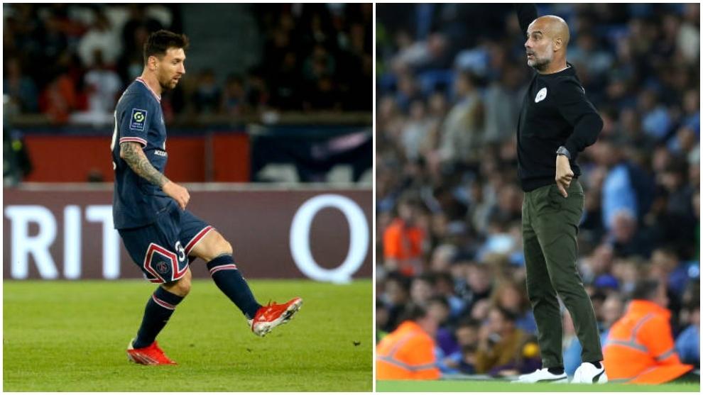 Messi jugador del PSG y Pep Guardiola entrenador del Manchester City