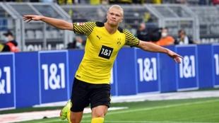 Haaland celebrando un tanto con el Borussia Dortmund