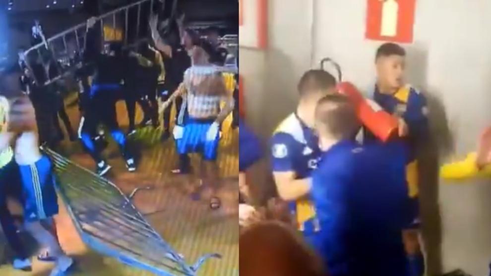 Incidentes en el partido de vuelta entre Boca y Mineiro.