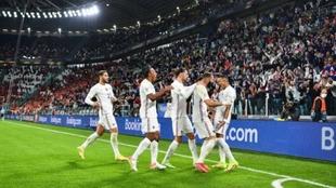Los franceses celebrando el gol de Mbappé