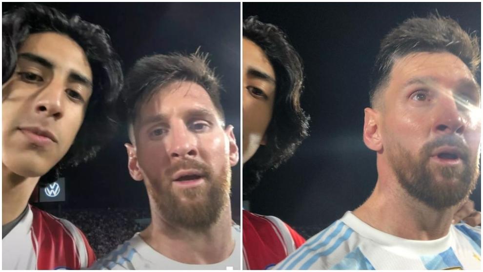 Aficionado paraguayo se hace una foto con Leo Messi
