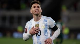 Lionel Messi con la camiseta de la selección.