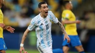 Ángel Di María celebra su gol ante Brasil en la final de la Copa...