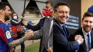 Messi y sus dos últimos presidentes en el Barça: Laporta y Battomeu.