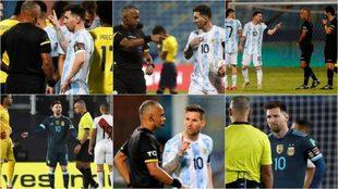 Diferentes momentos de los encentros entre Messi y Sampaio.