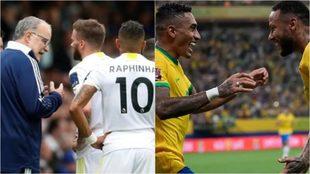 Raphinha escucha a Bielsa y festeja con Neymar.