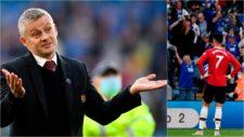 Solskjaer abre los brazos y CR se lamenta tras un gol del Leicester.