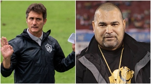 Nuevo entrenador de Paraguay, Barros Schelotto, y leyenda de Paraguay,...