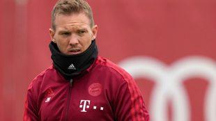 Nagelsmann, en un entrenamiento con el Bayern,