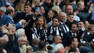 Amanda Staveley, en el palco durante el Newcastle-Tottenham.