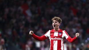 Griezmann celebra su gol en el Wanda Metropolitano.